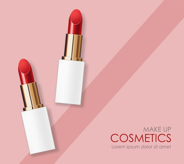 Realistic lipstick package, make-up beauty and cosmetics background