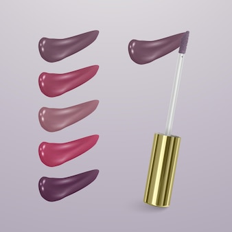 Realistic lipstick with collection of strokes of lipsticks various colors isolated
