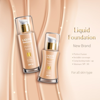 Realistic liquid foundation in glass vials advertising composition of cosmetics product on beige sparkling
