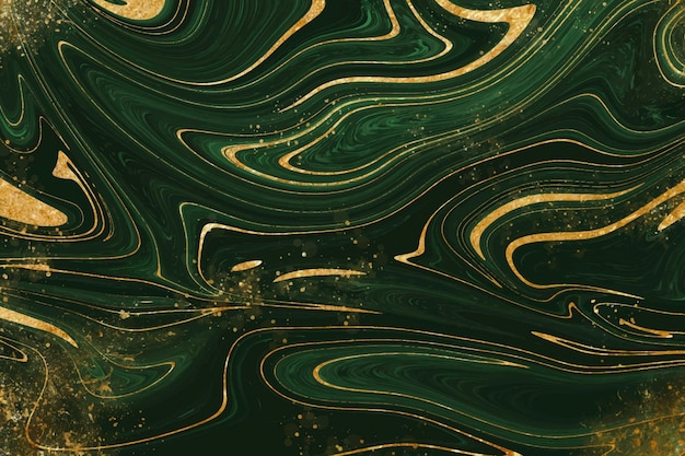 Realistic liquid marble background with gold