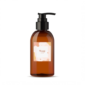 Realistic liquid soap brown bottle with pump mockup isolated on white background.  illustration