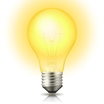 Realistic lit light bulb isolated