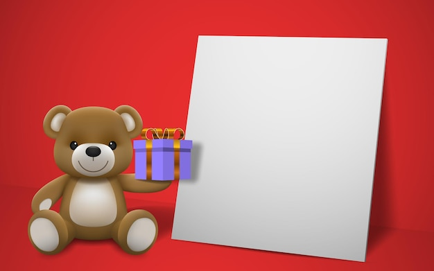 Realistic little cute smiling baby bear doll character holding a present gift and sitting on white frame with red background. an animal bear cartoon relaxing gesture.