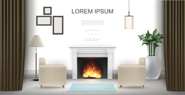 벽난로 안락 의자가있는 현실적인 거실 인테리어 관엽 식물 램프 커튼 사진 프레임