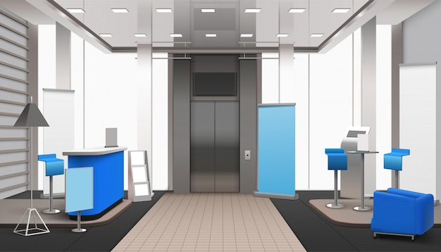 Realistic lobby interior blue elements