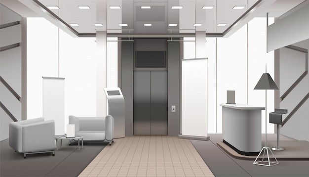 Realistic lobby interior grey color