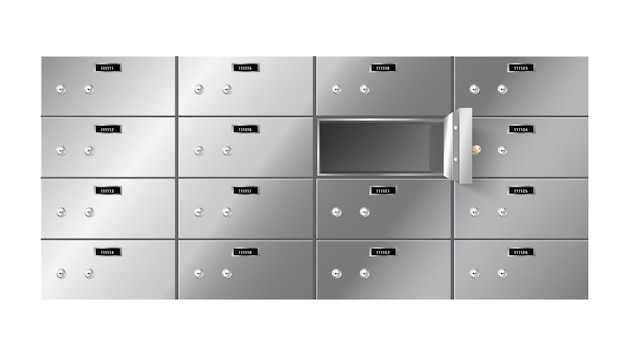 Realistic lockers, bank safe boxes