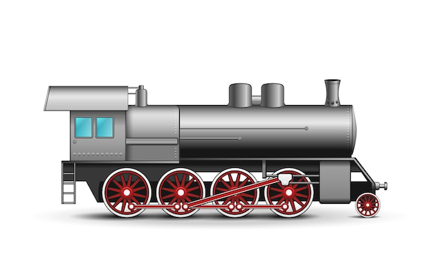 Realistic locomotive isolated