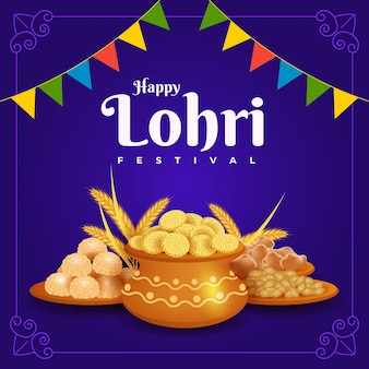 Realistic lohri food background