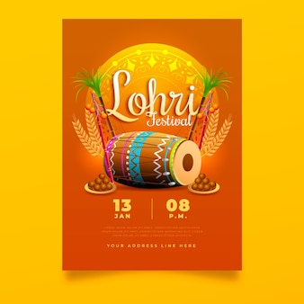 Realistic lohri poster template