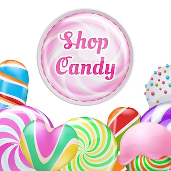 Realistic lollipops background - candy shop banner