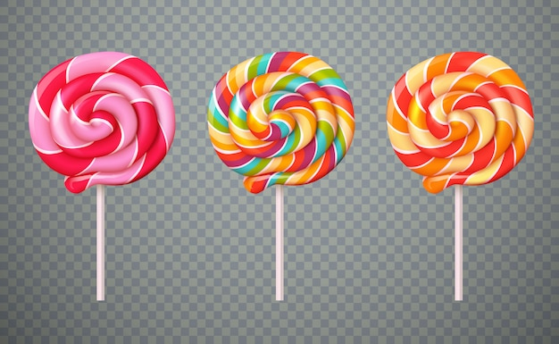 Realistic lollipops transparent background set