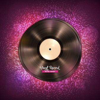 Realistic long-playing lp vinyl record. vintage vinyl gramophone record, dark purple background with disco lights.