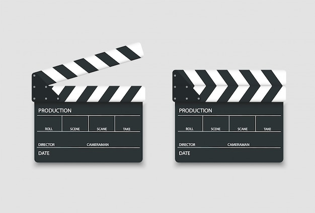 Realistic losed and opened clapperboard. clapp board for movie film.