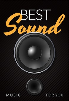 Realistic loud speaker advertising poster with white yellow inscription best sound illustration
