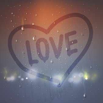 Realistic love heart on misted glass composition with heart painted a finger on sweaty glass vector illustration
