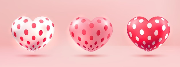 Realistic love heart shape 3d with dot pattern collection set