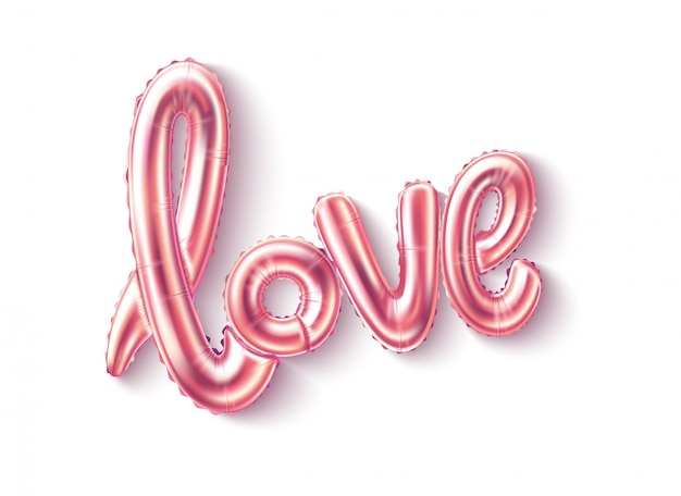 Realistic love pink balloon