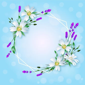 Реалистичная милая весенняя цветочная рамка