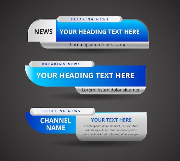 Реалистичный баннер нижней трети для новостного канала Premium векторы