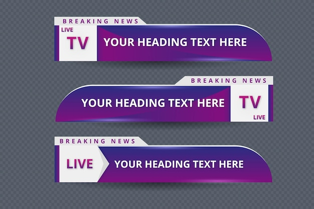 Realistic lower thirds banner set for news channel