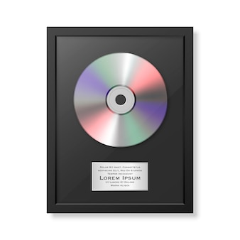Realistic lp and label in glossy black frame icon closeup isolated. single album disc award. design template.