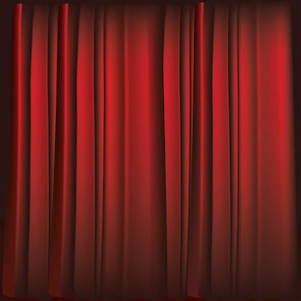 Realistic luxurious red velvet curtains