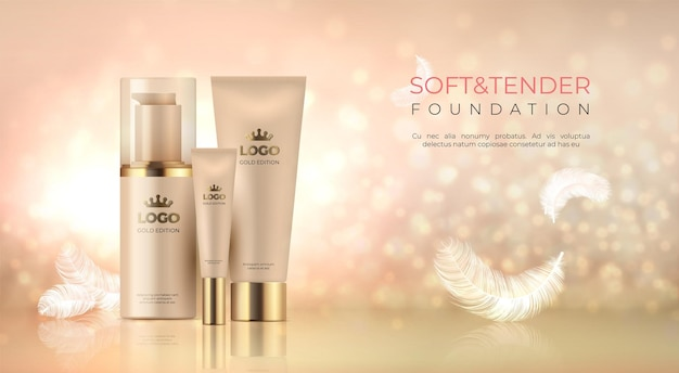 Realistic luxury cosmetic. skin care product golden makeup.
