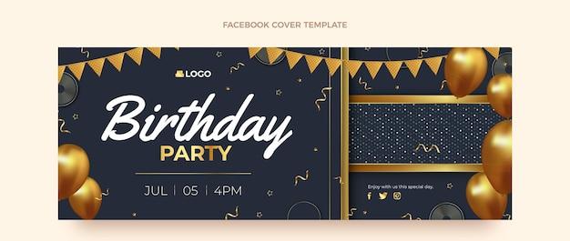 Copertina di facebook di compleanno d'oro di lusso realistico