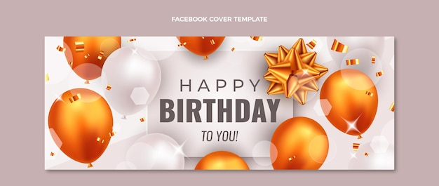 Realistic luxury golden birthday facebook cover