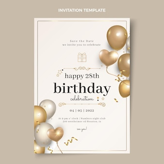 Realistic luxury golden birthday invitation