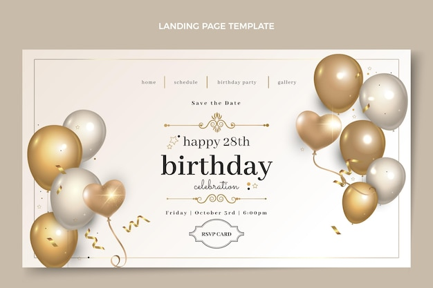 Реалистичная роскошная целевая страница золотого дня рождения