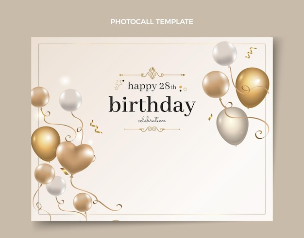 Realistic luxury golden birthday photocall