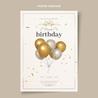 Realistic luxury golden birthday poster