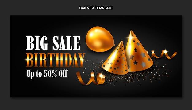 Realistic luxury golden birthday sale banner
