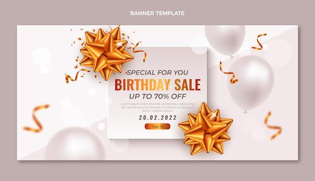 Banner di vendita di compleanno dorato di lusso realistico