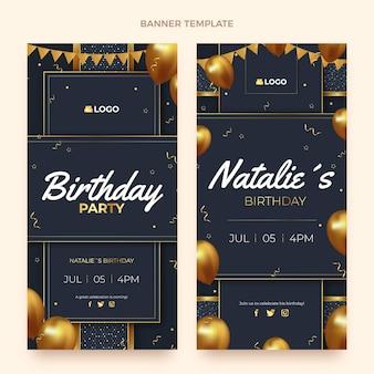 Banner verticali di compleanno d'oro di lusso realistico