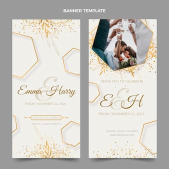 Realistic luxury golden wedding banners