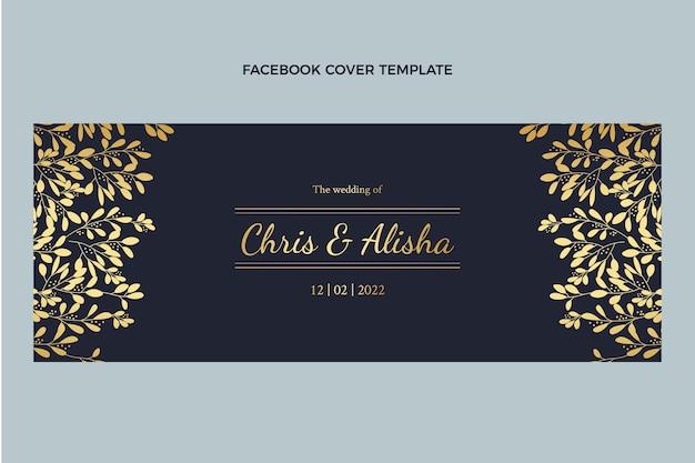 Реалистичная роскошная золотая свадебная обложка facebook