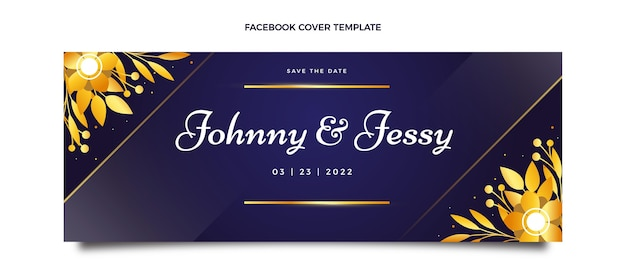 Realistic luxury golden wedding facebook cover