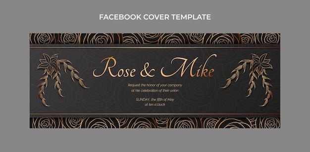 Copertina facebook di matrimonio dorato di lusso realistico