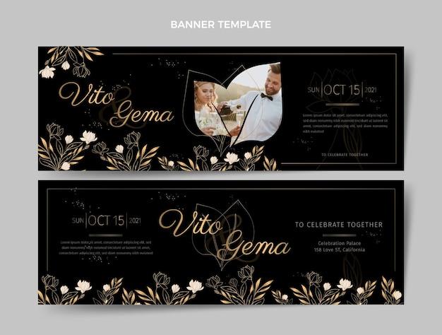 Реалистичные роскошные золотые свадебные горизонтальные баннеры