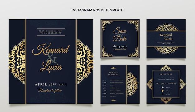 Realistic luxury golden wedding ig post
