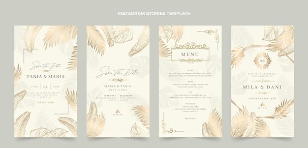 リアルな豪華な黄金の結婚式のigストーリー