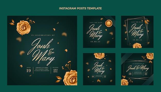 Collezione di post di instagram di nozze d'oro di lusso realistico