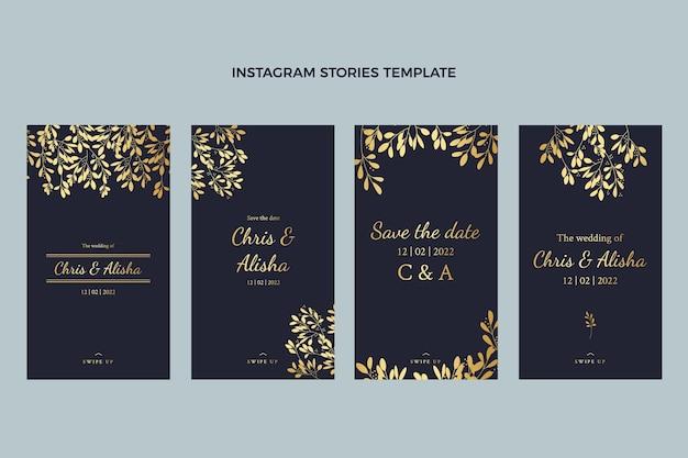 Storie realistiche di instagram di nozze d'oro di lusso