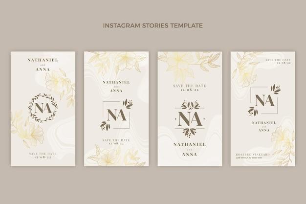 Realistic luxury golden wedding instagram stories