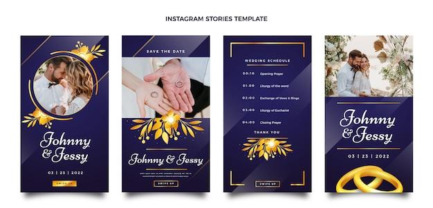 Реалистичные роскошные золотые свадебные истории instagram