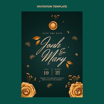 現実的な豪華な黄金の結婚式の招待状のテンプレート