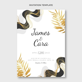 現実的な豪華な黄金の結婚式の招待状